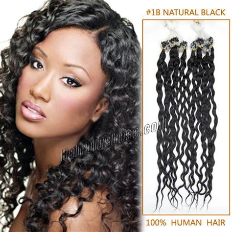 20 Inch #1b Natural Black Curly Micro Loop Human Hair