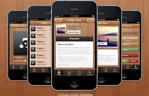 ui themes for iphone wood iphone app ui theme medialoot