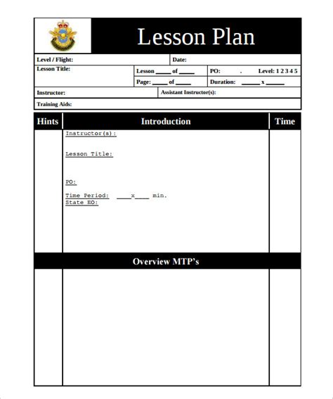 Formal Lesson Plan Template by Sle Printable Lesson Plan Template 11 Free