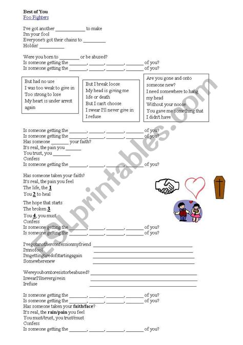 foo fighters the best of you mp3 the best of you foo fighters song esl worksheet by