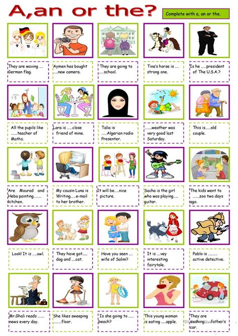 A Or A An Or The Worksheet Free Esl Printable Worksheets