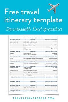 travel itinerary template   trip organized
