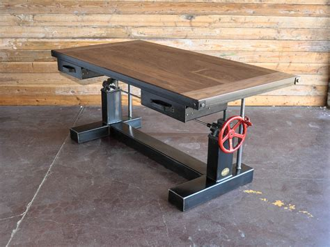 industrial stand up desk crank sit stand desk vintage industrial furniture