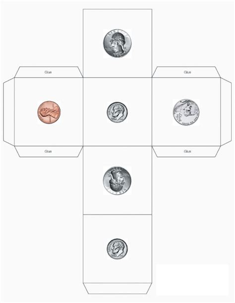 printable coin dice e is for explore coin dice