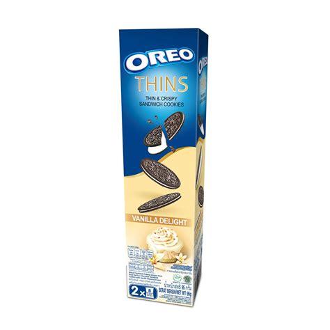 Oreo Thins Vanila Flavour 95g oreo thins sea vanilla delight 95g from redmart