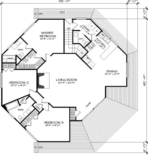 octagon house floor plans the octagon 1371 3 bedrooms and 2 baths the house designers