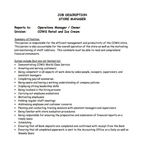 Store Manager Job Description Resume Amosfivesix Manager Description Template