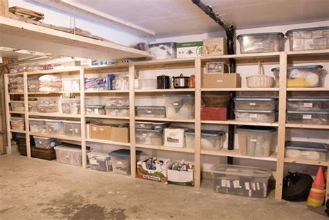 simple plywood shelving for basement storage phil