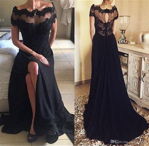 lace boat neck black open back maxi dress 2018 gothic black vintage lace prom party dresses a line