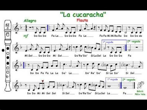 canciones de cuna xilofono la cucaracha flauta con notas youtube