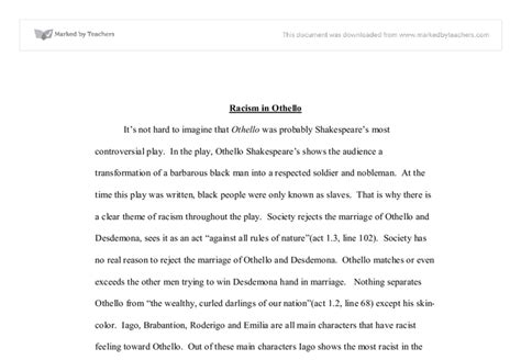 Racism Reflective Essay by Racism In Othello Linguistics Classics And Related Subjects Marked By Teachers