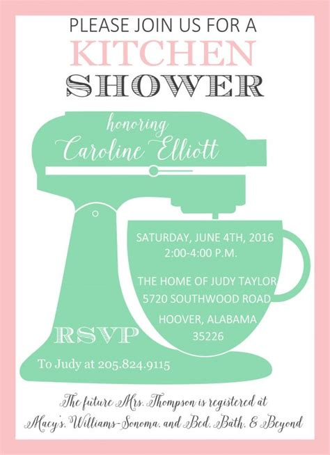 kitchen invitation cards templates 4100 kitchenaid mix kitchen shower invitation poppyseed