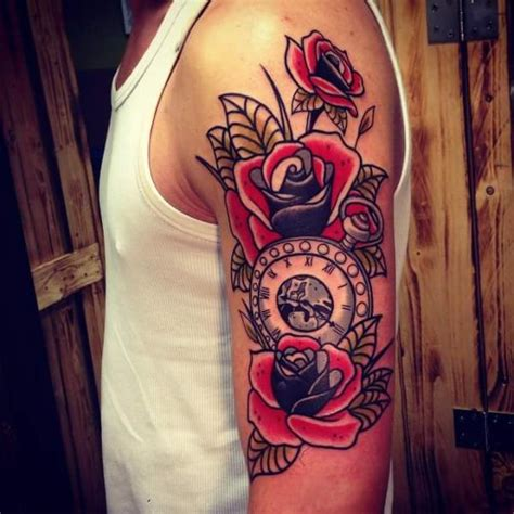 fiori school tatuaggio braccio orologio new school fiore di solid