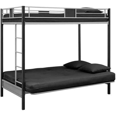 black metal bunk bed dhp silver screen twin over futon metal bunk bed silver