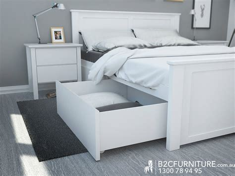 White Bed With Drawers by White Bed Frame With Bed Storage Drawers
