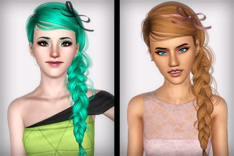 sims 3 custom content fringe hairstyle the sims 3 braid hairstyle newsea s blue bird retextured