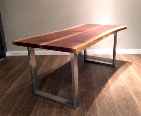 SILVER/CHROME Bench Leg, Table Legs Live Edge Wood Tops
