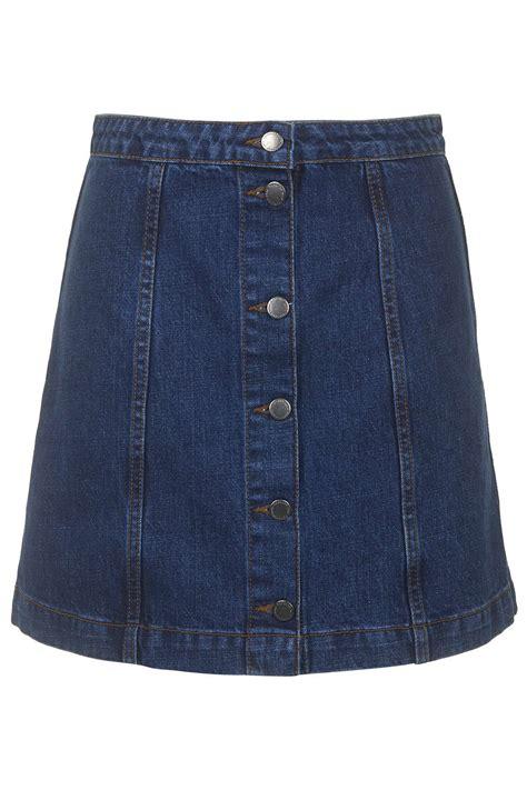moto button front a line skirt topshop