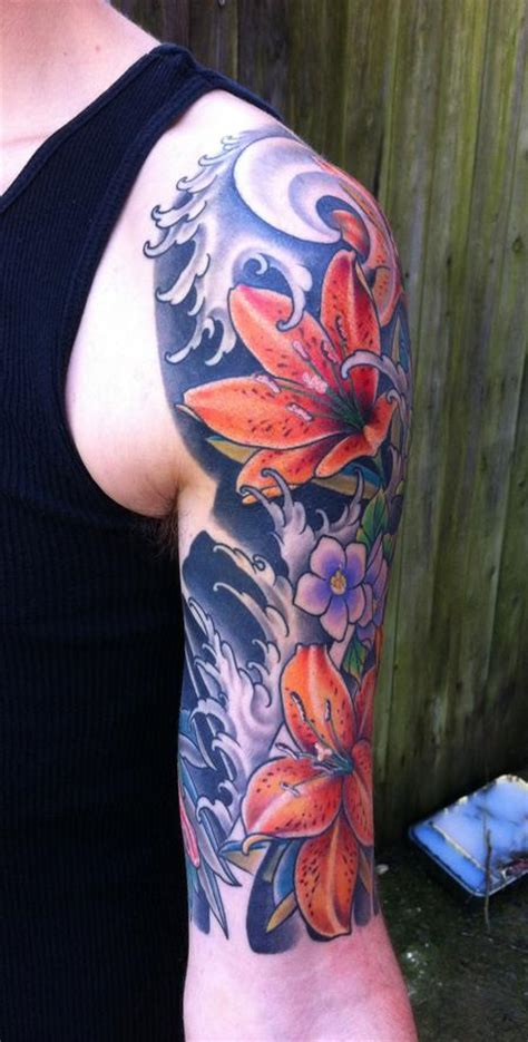 lily quarter sleeve tattoo off the map tattoo tattoos traditional japanese