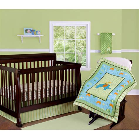 walmart nursery bedding step by step elephant crib bedding 3 piece set green