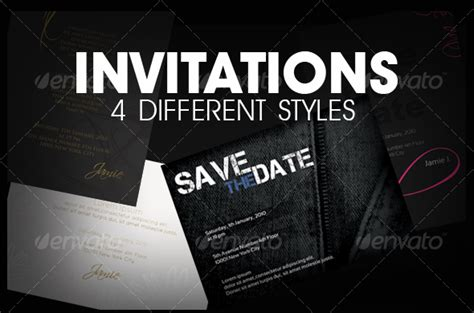 free indesign invitation templates graphicriver invitations 4 styles 107160