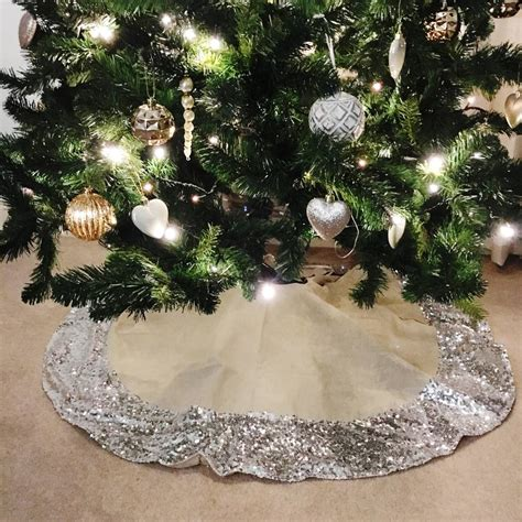 hessian christmas tree skirt with silver sequin trim by