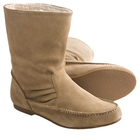 lands end boots womens lands end shearling moccasin boots suede for