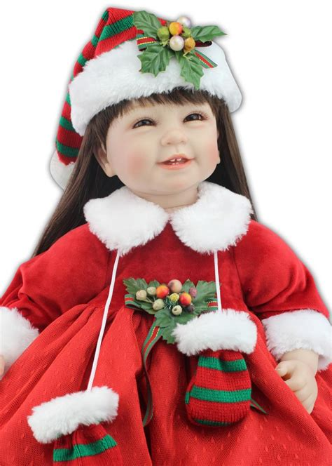 55cm silicone reborn baby dolls for girls christmas dress