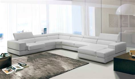 white modern sectional divani casa pella modern white leather sectional sofa