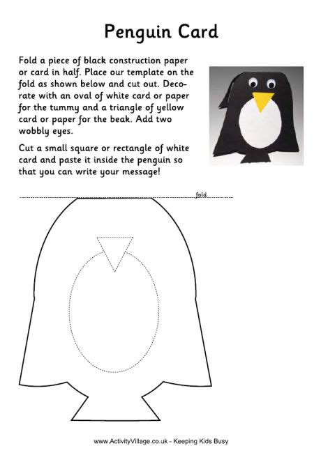 Penguin Card Template by Penguin Cards For To Make