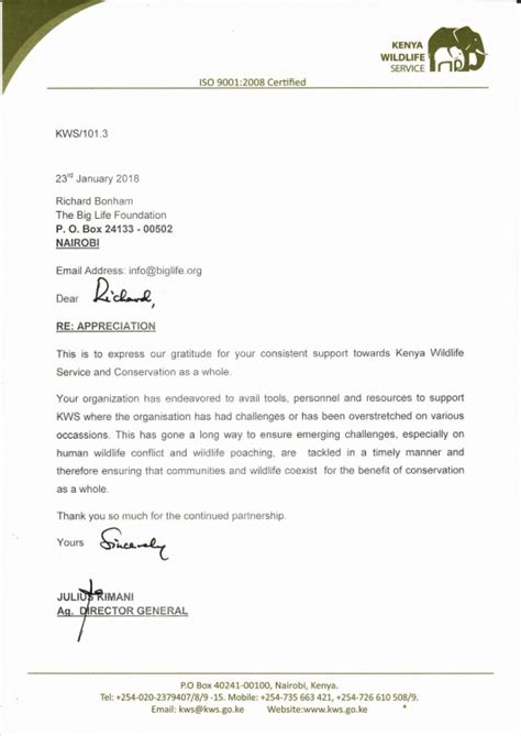 letter appreciation kenya wildlife service big