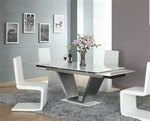 White Modern Dining Room Sets Lucerne White Contemporary Modern Marble Extending Dining Set