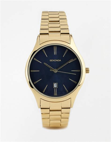 sekonda sekonda gold stainless steel 1018 at asos