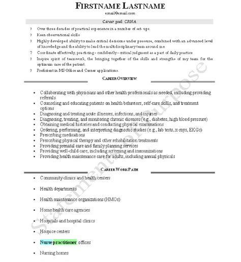 Anesthetist Resume Format Crna Cv Page 1 Best Resume And Cv Design