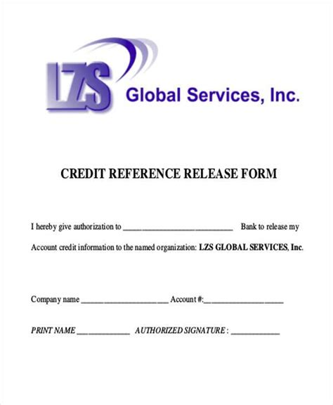 Credit Reference Form Pdf Sle Reference Release Forms 9 Free Documents In Word Pdf