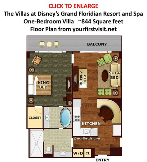 old key west 1 bedroom villa floor plan theming and accommodations at the villas at disney s grand