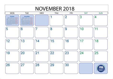 November 2018 Calendar November 2018 Calendar With Holidays Free Printable