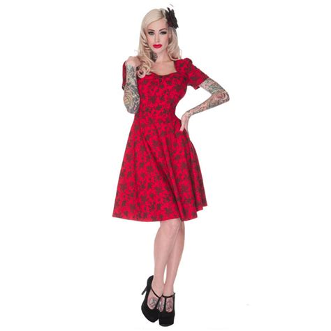 vintage style swing dress voodoo vixen ladies retro red floral vintage ww2 40s 50s