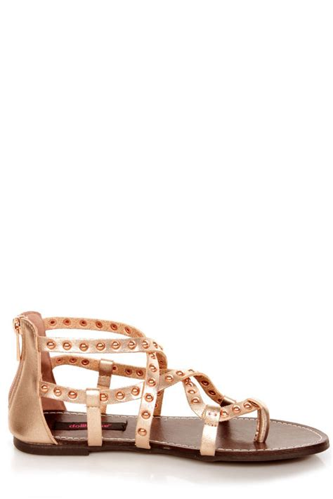 gold strappy flat sandals dollhouse gladiator gold studded strappy flat sandals