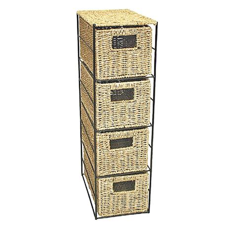 Seagrass Drawers by 4 Drawer Seagrass Tower Storage Unit With Black Metal