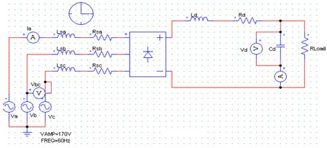 diode bridge pspice model figure 3 5 simulation modal of three phase uncontrolled bridge rectifier the study of