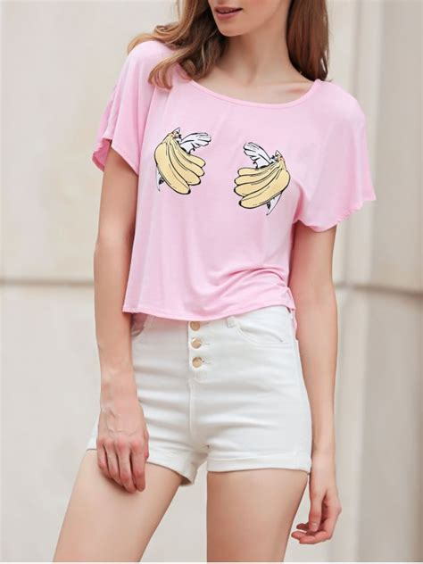 Sleeve Print Cropped T Shirt banana print sleeve cropped t shirt pink tees xl