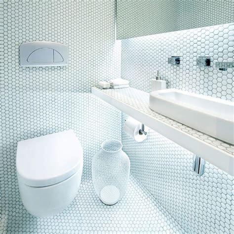 1 Inch White Hexagon Gloss Floor Tile - bathroom gloss white hexagon tiles black octagon tile