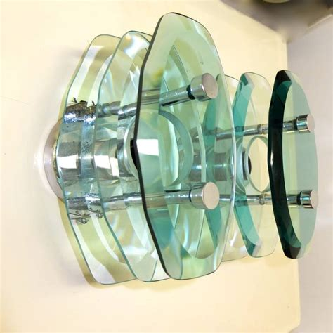Stacked Glass L by Pair Of Italian Stacked Glass Sconces By Cristal Arte For