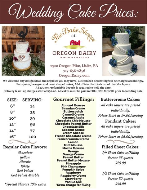 Wedding Cakes Prices by Wedding Cakes The Bake Shoppe Oregon Dairy