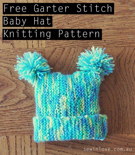 free garter stitch baby knitting patterns free baby hat knitting pattern with pom poms garter