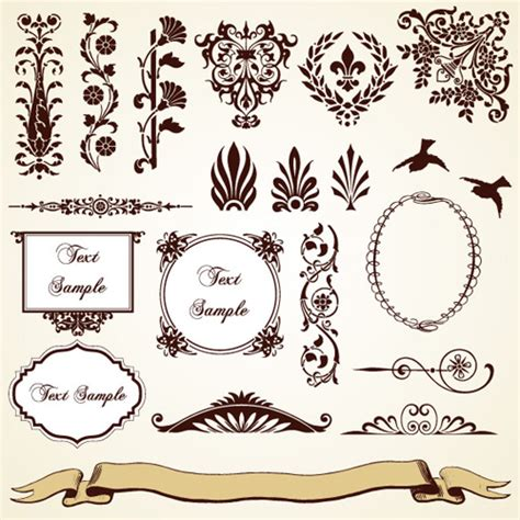 vintage frame pattern free vintage pattern area borders and ornaments vector 02