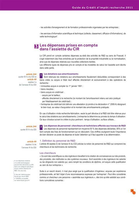 Calcul Du Credit D Impot Formation Chef D Entreprise Guide Du Credit Impot Recherche 2011 04 10 147387