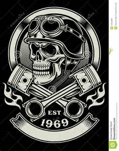 vintage biker skull with crossed piston emblem stock