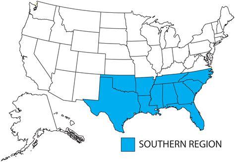 map united states southern states southern region apwu